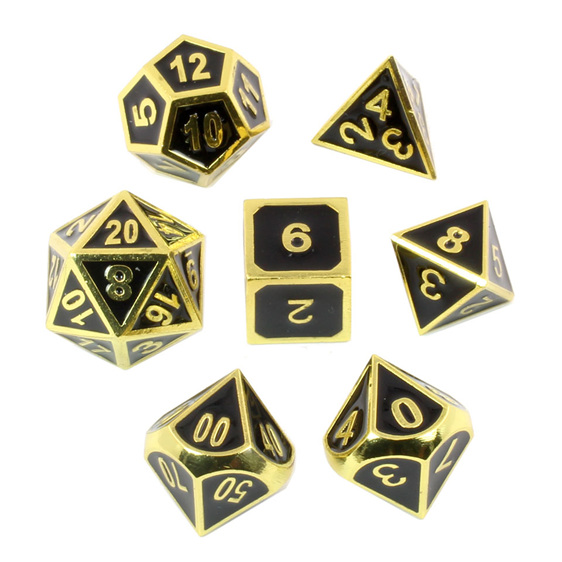 Set of 7 Embossed Gold Metal Polyhedral Dice Games and Hobbies NZ