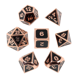 7 Embossed 'Polished Copper' Metal Dice