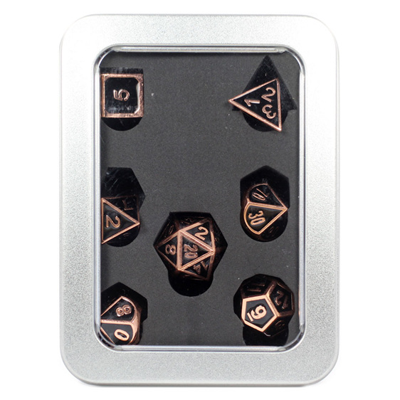 Set of 7 Embossed Polished Copper Metal Polyhedral Dice Games and Hobbies NZ