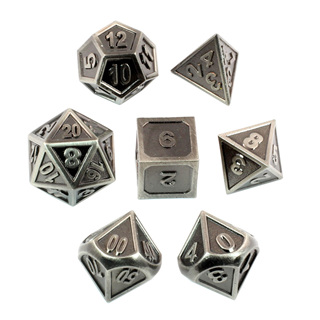 7 'Steel' Modern Metal Dice