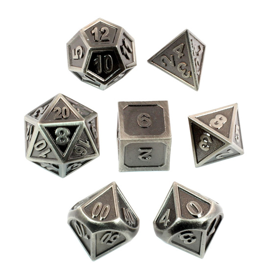Set of 7 Embossed Stee Metal Loose Polyhedral Dice Games and Hobbies New Zealand