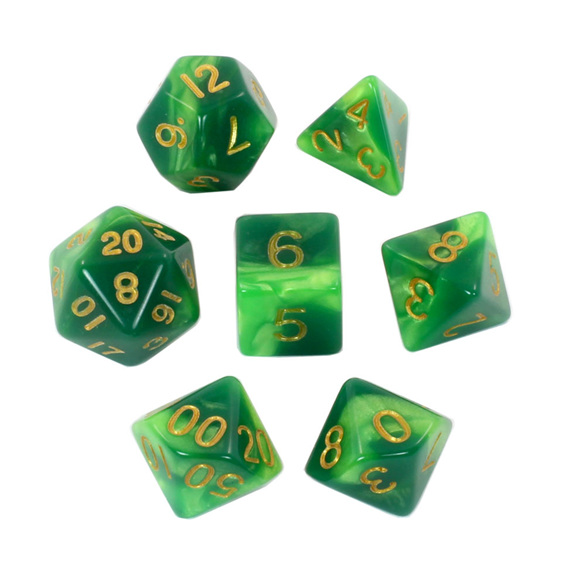 Set of 7 Emerald & Green Fusion Polyhedral Dice Games and Hobbies New Zealand