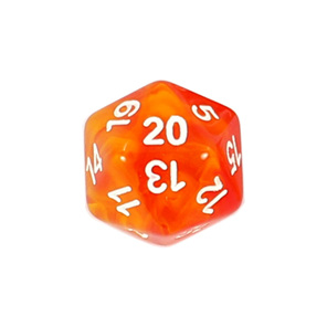Set of 7 Fire Vapour Translucent Polyhedral Dice with White Numbers NZ