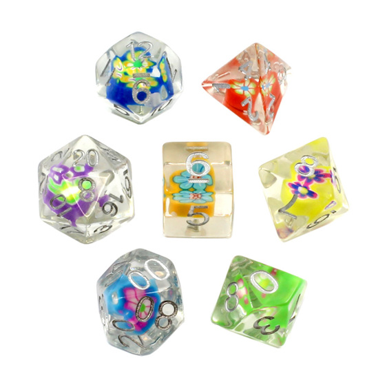 Set of 7 Floral Hearts Polyhedral Dice  with Silver numbers Games and Hobbies NZ