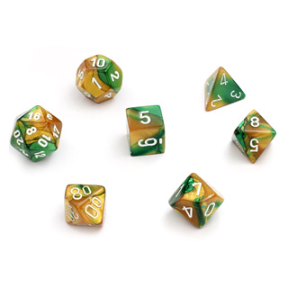 7 Gold & Green with White Gemini Dice