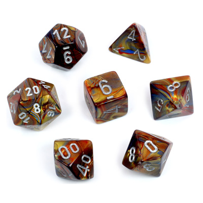 7 Gold Lustrous Polyhedral Dice with Silver Numbers