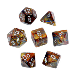 7 Gold with Silver Lustrous Dice