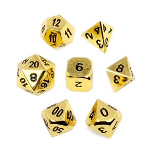Set of 7 Gold Metal Polyhedral Dice Games and Hobbies New Zealand NZ