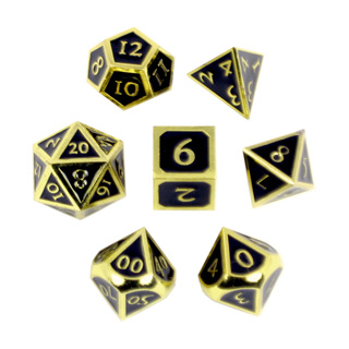 7 'Gold' with Black Vintage  Metal Dice