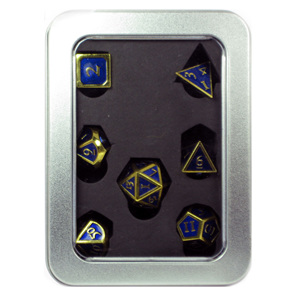 Set of 7 Gold Metal Vintage Polyhedral Dice Games and Hobbies NZ