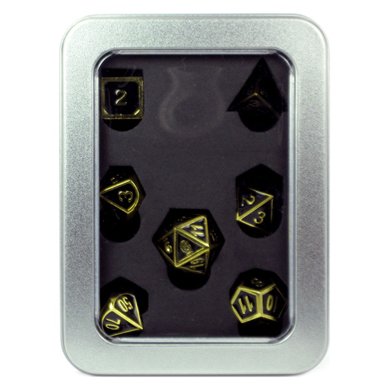 Set of 7 Gold with Black Modern Metal Polyhedral Dice Games and Hobbies NZ