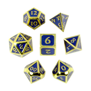 Set of 7 Gold with Blue Vintage Metal Polyhedral Dice Games and Hobbies NZ