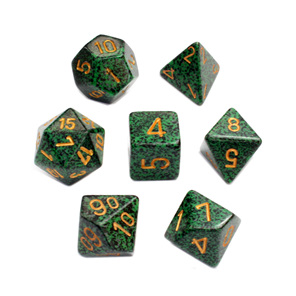 Set of 7 Golden Recon Speckled Polyhedral Dice Games and Hobbies New Zealand NZ