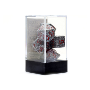 Set of 7 Granite Polyhedral Dice with Red numbers Games and Hobbies NZ
