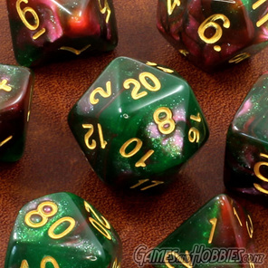 Set of 7 Green and Purple with Gold Starlight Polyhedral Dice Games and Hobbies