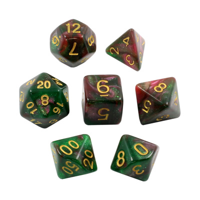 7 Green & Purple with Gold Stardust Dice