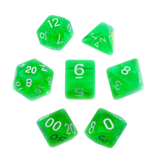 Set of 7 Green and White Translucent Polyhedral Dice Games Hobbies New Zealand