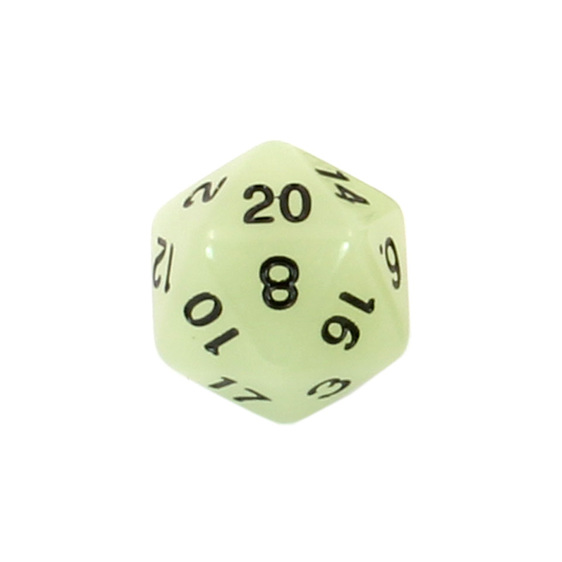Set of 7 Green Glow in the Dark Polyhedral Dice with Black Games and Hobbies NZ