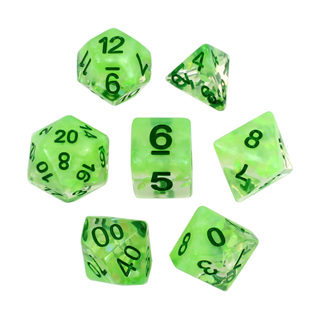 7 Green Leaves Confetti Dice