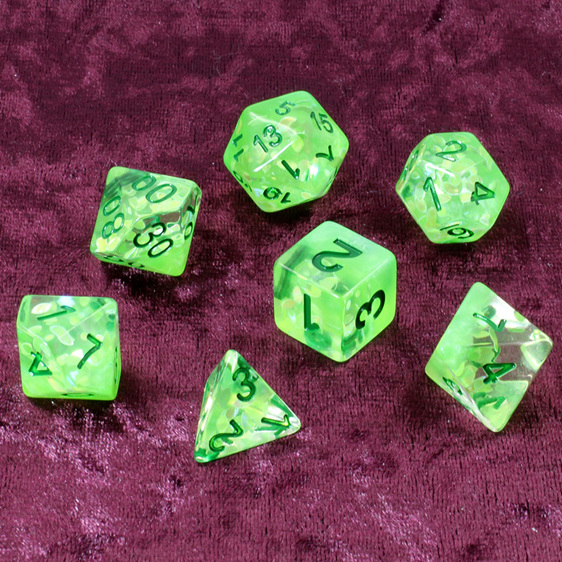 Set of 7 Green Leaves Confetti Polyhedral Dice Games and Hobbies NZ