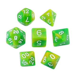 7 Green & Lime with White Fusion Dice