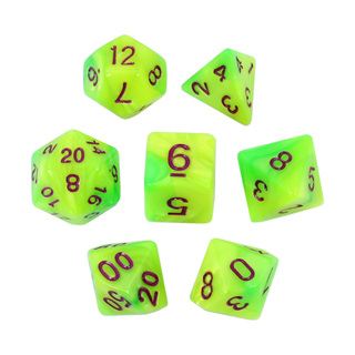 7 Green & Lime with Purple Fusion Dice
