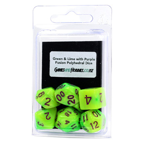 Set of 7 Green & Lime Fusion Polyhedral Dice Games and Hobbies New Zealand