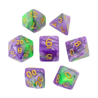 7 Green & Purple with Gold Fusion Dice