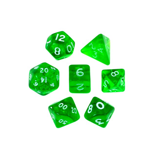 7 Green with White Translucent Mini Dice