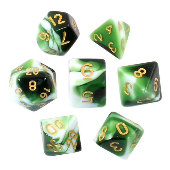 Set of 7 Green & White Fusion Polyhedral Dice Games and Hobbies New Zealand