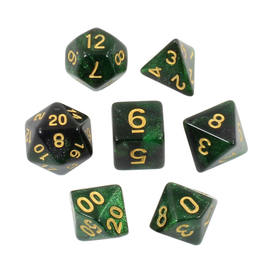 Set of 7 Green with Gold Starlight Polyhedral Dice Games and Hobbies NZ