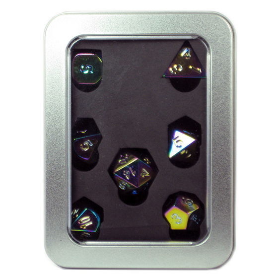 Set of 7 Iridescent Chrome Metal Polyhedral Dice Games and Hobbies New Zealand