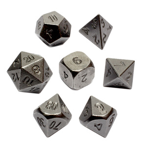 Set of 7 Iron Metal Polyhedral Dice Games and Hobbies New Zealand NZ