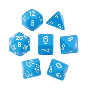 Set of 7 Light Blue with White numbers Polyhedral dice Games and Hobbies NZ