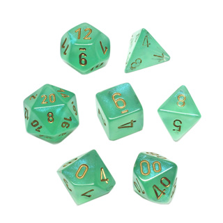 7 Light Green with Gold Borealis Dice