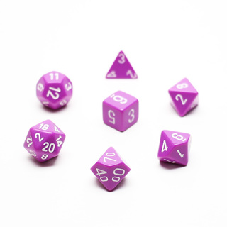 7 Light Purple with White Opaque Dice