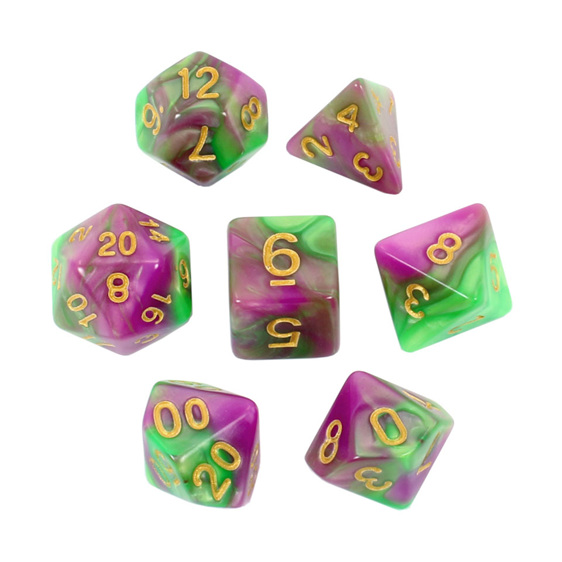 Set of 7 Lime & Purple Fusion Polyhedral Dice Games and Hobbies New Zealand