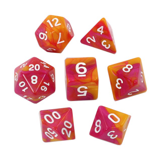 7 Magenta & Orange with White Fusion Dice