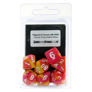 Set of 7 Magenta & Orange Fusion Polyhedral Dice Games and Hobbies New Zealand