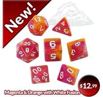 Set of 7 Magenta & Orange with White Fusion Dice