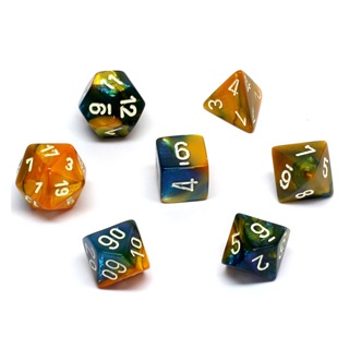 7 'Masquerade' & Yellow with White Gemini Dice
