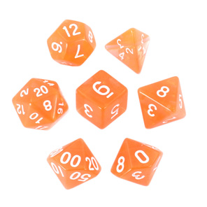 Set of 7 Orange and White Translucent Polyhedral Dice Games Hobbies New Zealand