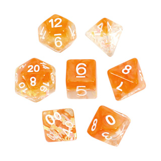 7 Orange Bows Confetti Dice