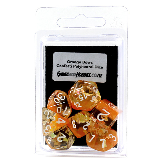 Set of 7 Orange Bows Confetti Polyhedral Dice Games and Hobbies NZ
