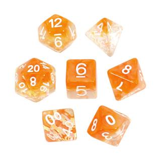 7 Orange Bows Confetti Dice