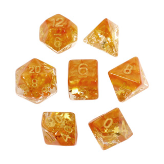 7 Orange Leaves Confetti Dice