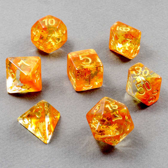 Set of 7 Orange Leaves Confetti Polyhedral Dice Games and Hobbies NZ