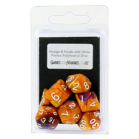 Set of 7 Orange & Purple Fusion Polyhedral Dice Games and Hobbies New Zealand