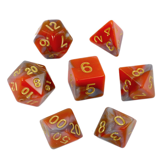 Set of 7 Orange & Steel Fusion Polyhedral Dice Games and Hobbies New Zealand