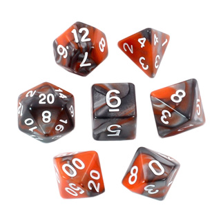 7 Orange & Steel with White Fusion Dice